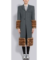Thom Browne Oversized Tartan Cashmere Chesterfield - Gray