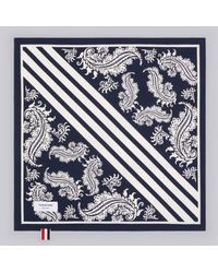 Thom Browne Navy Broadcloath Bandana - Blue