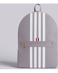 Thom Browne - Backpack With White Contrast 4-bar Stripe In Pebble Grain & Calf Leather - Lyst