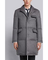 Thom Browne - Tonal Grosgrain Down-filled Classic Cashmere Chesterfield Overcoat - Lyst