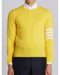 Thom Browne - Crewneck Pullover With 4-bar Stripe In Yellow Cashmere - Lyst