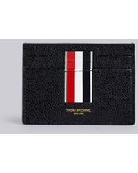 Thom Browne Vertical Intarsia Stripe Single Cardholder In Pebble Grain Leather - Black