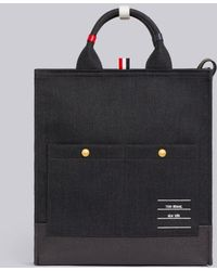 Thom Browne Shiny Paper Label Lined Tote Bag - Gray