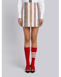 Thom Browne - Notched Hem Mini Skirt In Stripe Eyelash Tweed - Lyst