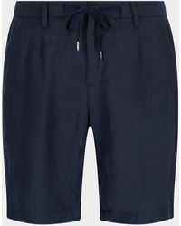 Thom Sweeney Tailored Linen Shorts - Blue