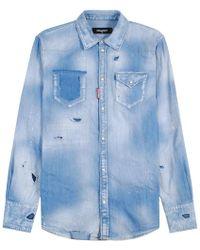 9f62ea2031 Lyst - DIESEL Distressed Denim Shirt in Blue for Men