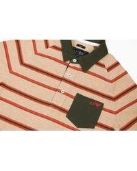 Armani Jeans - Beige/green Striped Riga Polo Shirt - Lyst