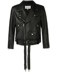 Maison Margiela Leather Double Zip Jacket - Black