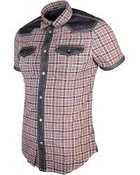 Armani Jeans - Red/navy Check Short Sleeve Shirt - Lyst