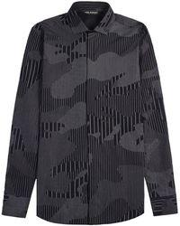 Neil Barrett Camouflaged Pinstripe Shirt Dark Navy - Black