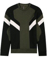 Neil Barrett - Modernist Colour Block Sweatshirt Khaki - Lyst