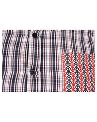 Love Moschino - Navy Red & White Short Sleeved Checked Shirt - Lyst
