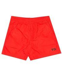 Y-3 Red Utility Swim Shorts