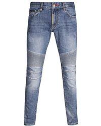 """Philipp Plein """"some Nights"""" Biker Jeans - Blue"""