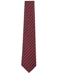 Armani - Red & White Diagonal Stripe Silk Tie - Lyst
