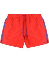 Emporio Armani Logo Swim Shorts - Red