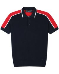 DSquared² - Knitted Pattern Polo Shirt Navy - Lyst