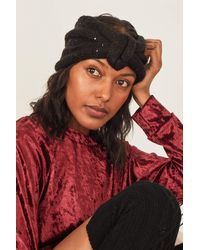 Three Bird Nest Peace + Love Sequin Knot Headband - Black