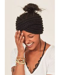Three Bird Nest On Cloud Nine Twisted Knit Headband - Black