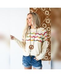 Three Bird Nest 3bn Gianna Rainbow Detail Knit Sweater - Natural