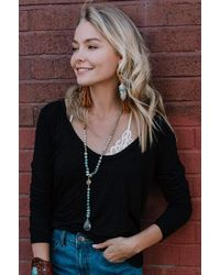 Three Bird Nest - Ryder Long Sleeve Bralette Tee Shirt - Lyst