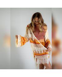 Three Bird Nest 3bn Indy Crochet Cardigan Sweater - Orange