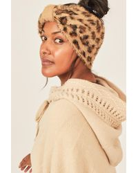 Three Bird Nest Drea Faux Mohair Leopard Print Headband - Natural
