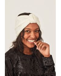 Three Bird Nest Peace + Love Sequin Knot Headband - White
