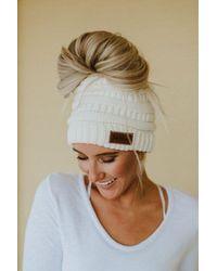 Three Bird Nest Messy Bun Knitted Beanie Ponytail Hat - White