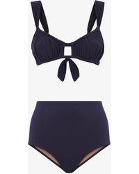 Three Graces London Bridget High-waisted Brief Bikini Set In Navy - Blue