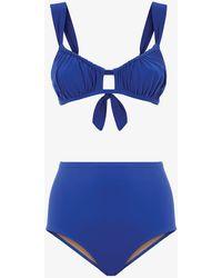 Three Graces London Bridget High-waisted Brief Bikini Set - Blue