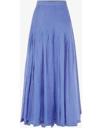 Three Graces London Elisha Ramie Pleated Skirt In Blue