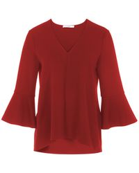 Tibi - Structured Crepe V-neck Ruffle Sleeve Top - Lyst