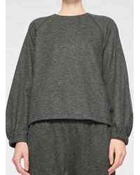 Tibi Tweedy Melange Cropped Sweatshirt - Gray