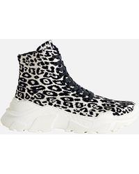 Tibi Milo Leopard Trainer Boot - Black