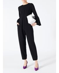 Tibi - Structured Crepe Bell Sleeve Jumpsuit - Lyst