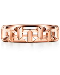 Tiffany & Co. Tiffany T True Wide Ring In 18k Rose Gold, 5.5 Mm Wide - Pink
