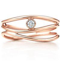 d1d0d1ccb Tiffany & Co. Wave Single-row Diamond Ring in Metallic - Lyst