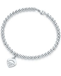 Tiffany & Co. Mini Heart Tag Sterling Silver Bead Bracelet - Metallic