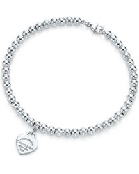 Tiffany & Co. - Mini Heart Tag Sterling Silver Bead Bracelet - Lyst