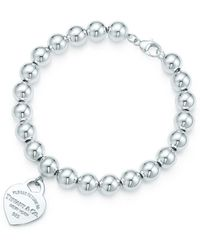 Tiffany & Co. Small Heart Tag In Sterling Silver On A Bead Bracelet - 8 In - Metallic