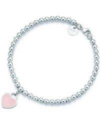 Tiffany & Co. - Bead Bracelet In Silver With Pink Enamel Finish, Medium - Lyst