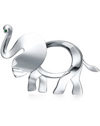 Tiffany & Co   Tiffany Save The Wild Elephant Brooch In Silver With A Tsavorite, Large   Lyst