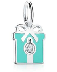 a0b76896e998 Tiffany   Co. - Tiffany Charms Diamond Box Charm In Sterling Silver With  Blue Enamel