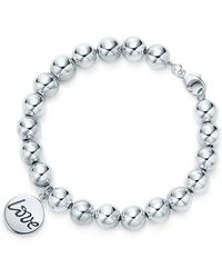 Tiffany & Co. - Love Tag In Sterling Silver On A Bead Bracelet, Small - Lyst