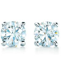 Tiffany & Co. Tiffany Solitaire Diamond Earrings In Platinum - Size .31 - Blue
