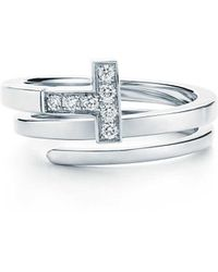 Tiffany & Co. - Tiffany T Square Wrap Ring In 18ct White Gold With Diamonds - Size P - Lyst