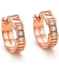 Tiffany & Co. - Atlas. Hoop Earrings In 18k Rose Gold With Diamonds - Lyst