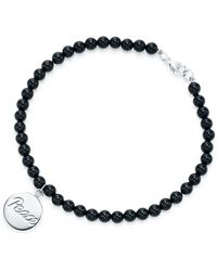 Tiffany & Co. - Peace Tag In Sterling Silver On An Onyx Bead Bracelet, Medium - Lyst