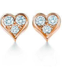 41e12a8ab Tiffany & Co. - Tiffany Heartstm Earrings In 18k Rose Gold With Diamonds -  Lyst